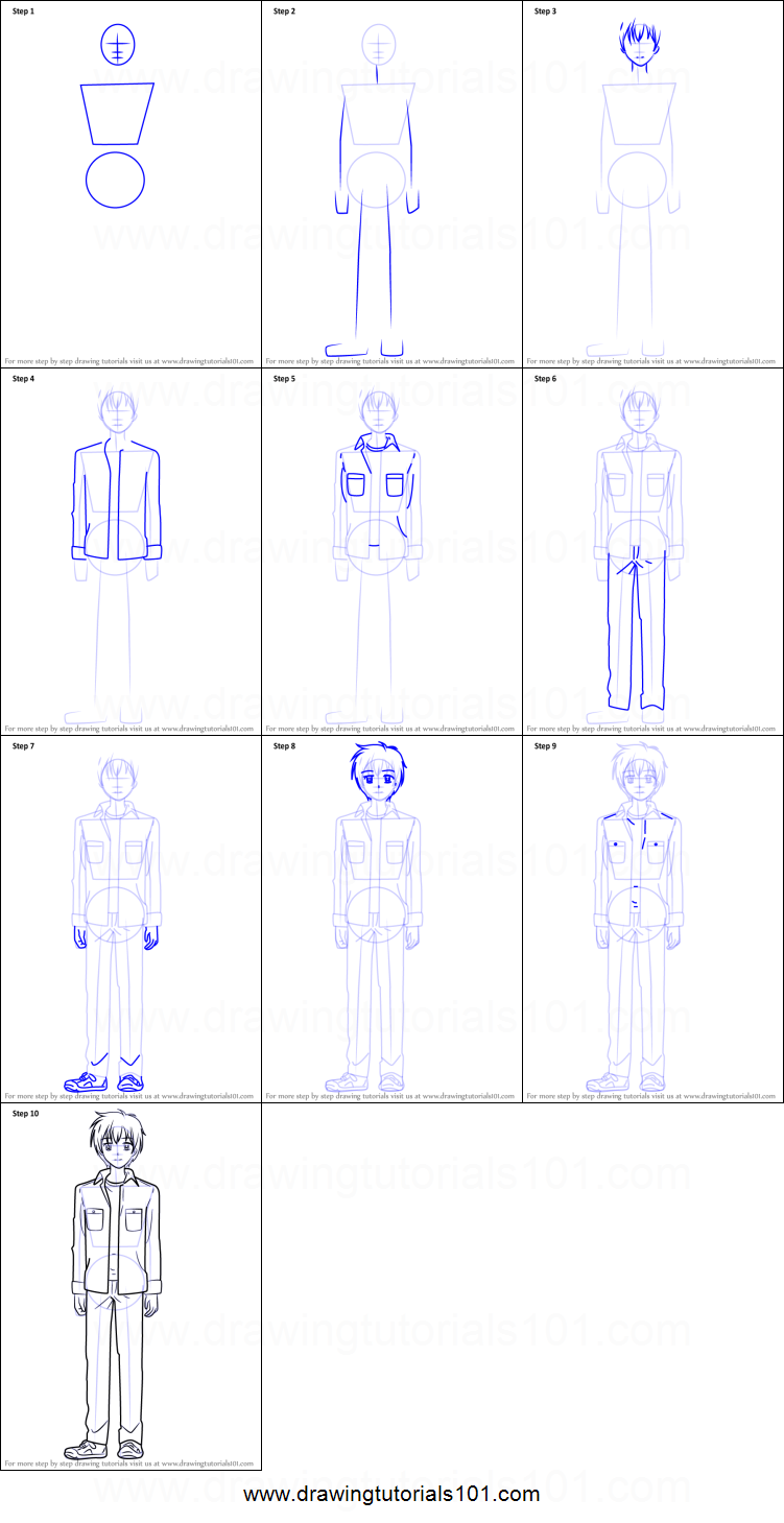 How to Draw Banri Tada from Golden Time printable step by