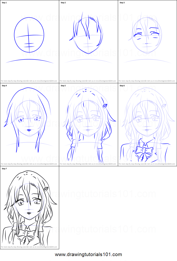 How To Draw Inori Yuzuriha From Guilty Crown Printable Step By Step