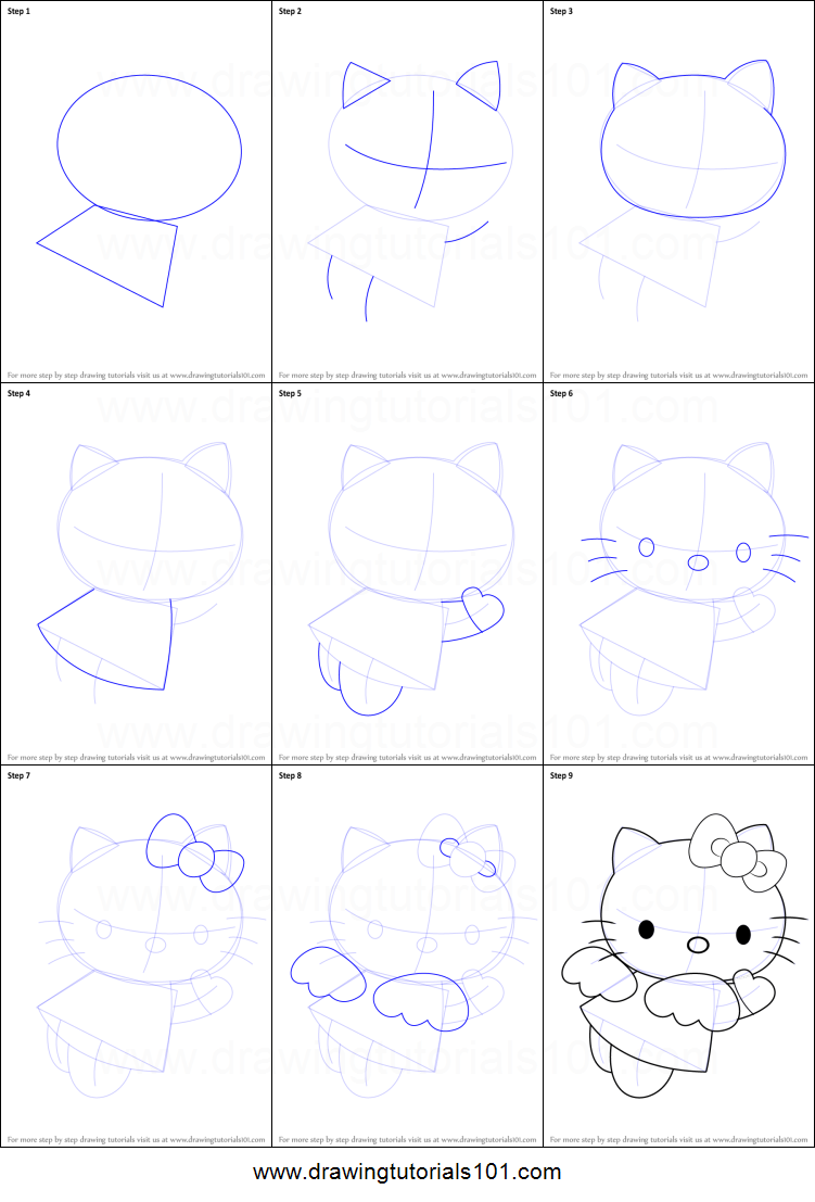how to draw hello kitty angel printable step by step drawing sheet drawingtutorials101com