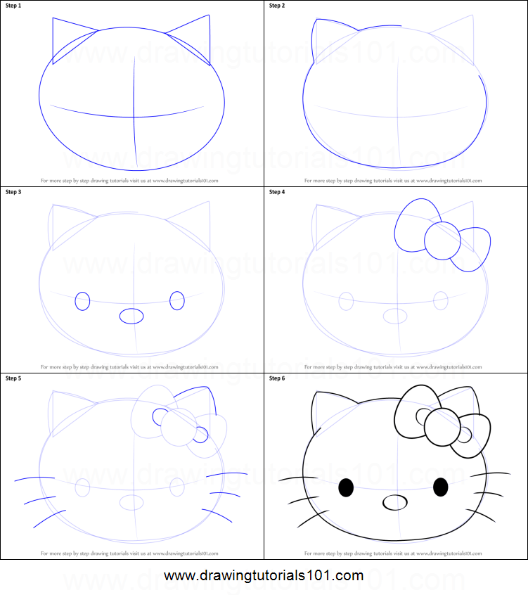 how to draw hello kitty face printable step by step drawing sheet drawingtutorials101com