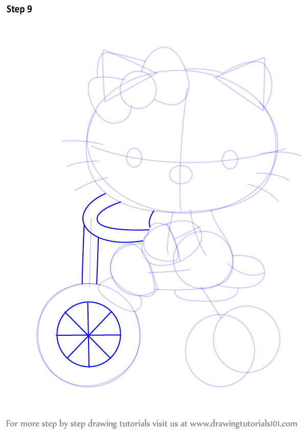 learn how to draw hello kitty on tricycle hello kitty