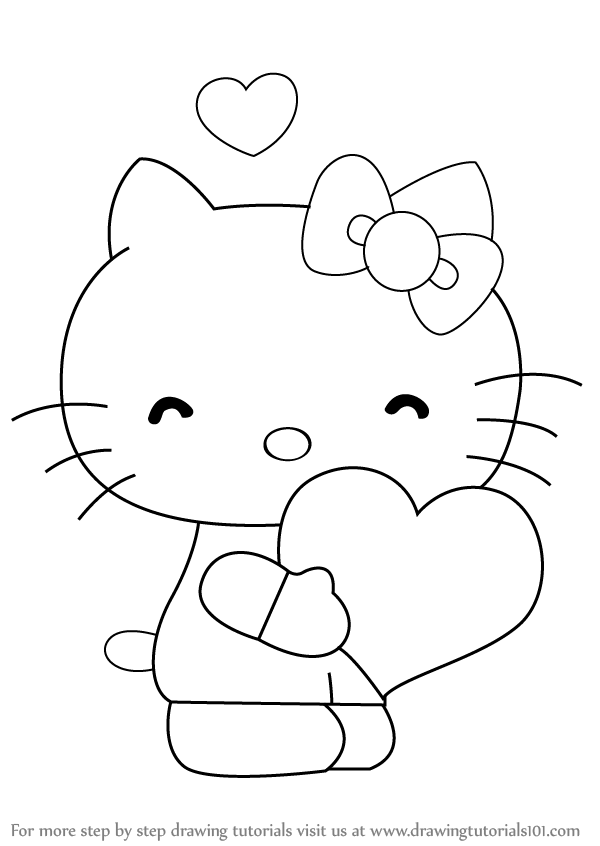 how to draw hello kitty with heart