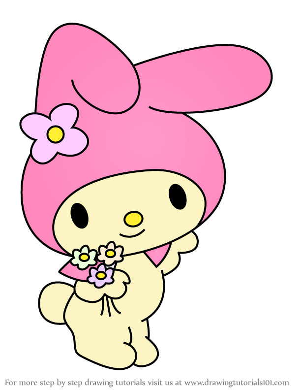 Learn How To Draw My Melody From Hello Kitty Hello Kitty Step By Step Drawing Tutorials