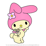 How to Draw My Melody from Hello Kitty