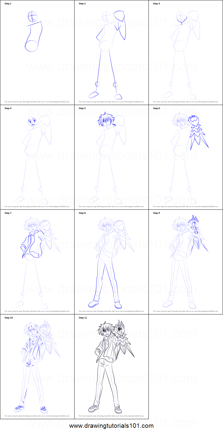 How to Draw Issei Hyoudou from High School DxD printable step by