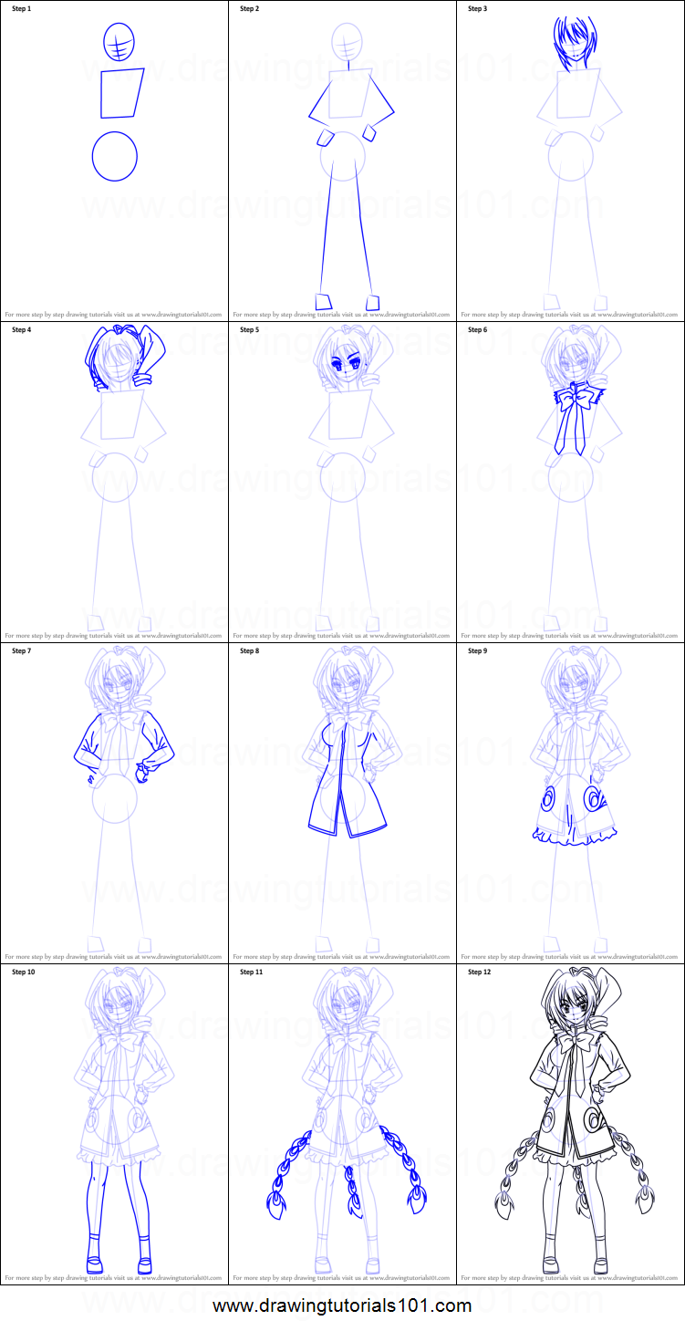 How to Draw Ravel Phenex from High School DxD printable step by