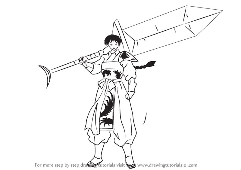 Learn How To Draw Bankotsu From Inuyasha Inuyasha Step
