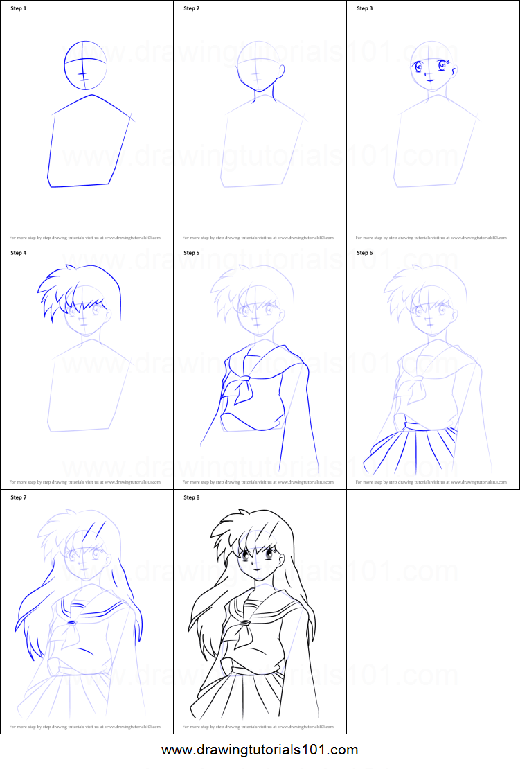 By step drawing tutorial on how to draw kagome higurashi from inuyasha - How To Draw Kagome Higurashi From Inuyasha