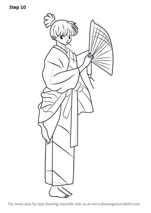 Learn How To Draw Kagura From Inuyasha Inuyasha Step By