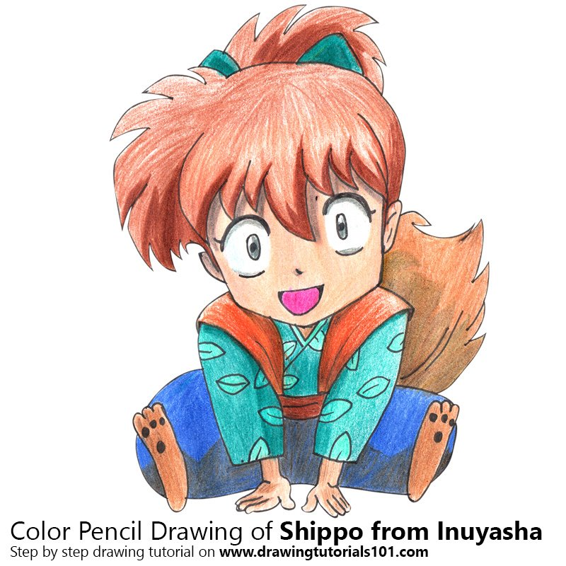 Shippo from Inuyasha Color Pencil Drawing