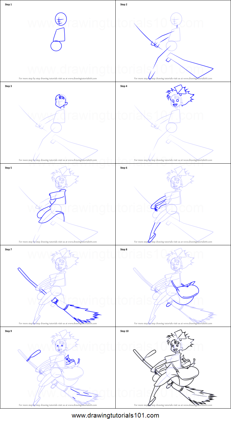 How to draw kiki from kiki 39 s delivery service printable for Kiki s delivery service coloring pages