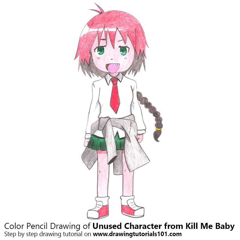 Unused Character from Kill Me Baby Color Pencil Drawing