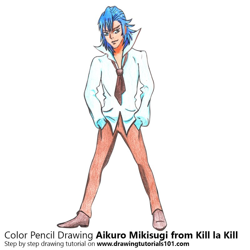 Aikuro Mikisugi from Kill la Kill Color Pencil Drawing