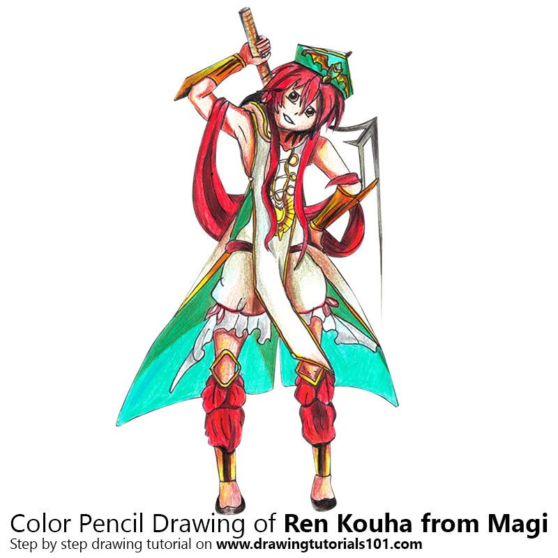 Ren Kouha from Magi Color Pencil Drawing