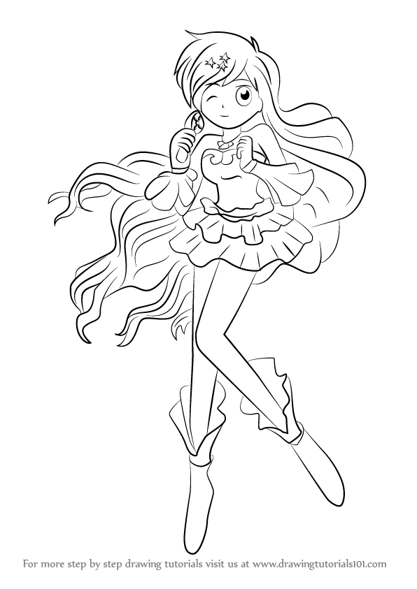 learn how to draw hanon hosho from mermaid melody  mermaid melody  step by step   drawing tutorials