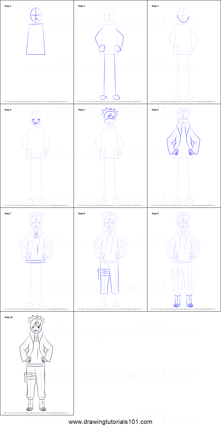 Step by step drawing tutorial on how to draw boruto uzumaki from naruto