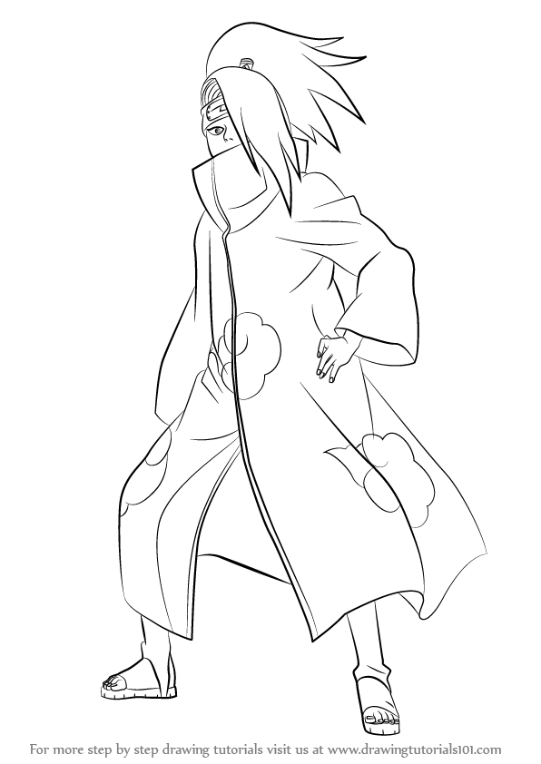 Learn How To Draw Deidara From Naruto Naruto Step By Step
