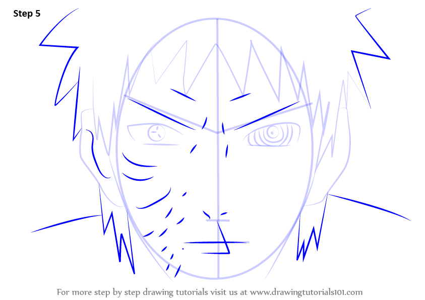 how to draw kurama step by step