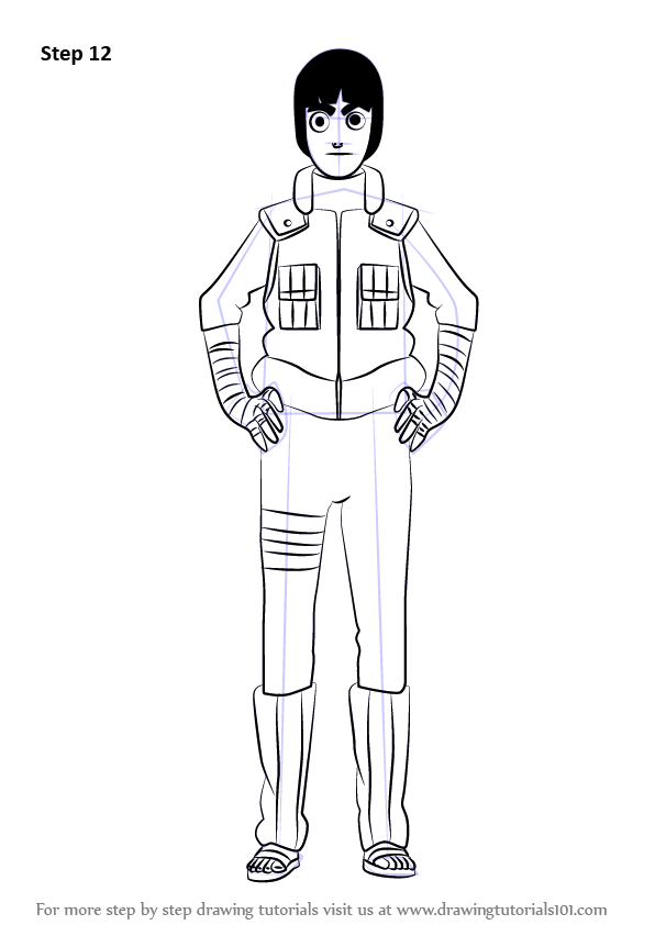 Learn How To Draw Rock Lee From Naruto Naruto Step By