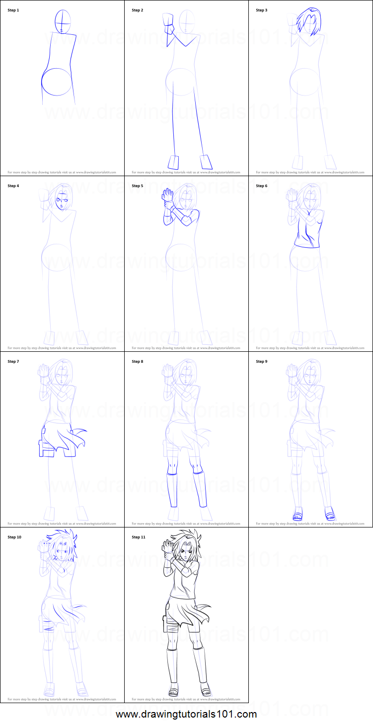 How to draw sakura haruno from naruto printable step by step drawing sheet drawingtutorials101 com
