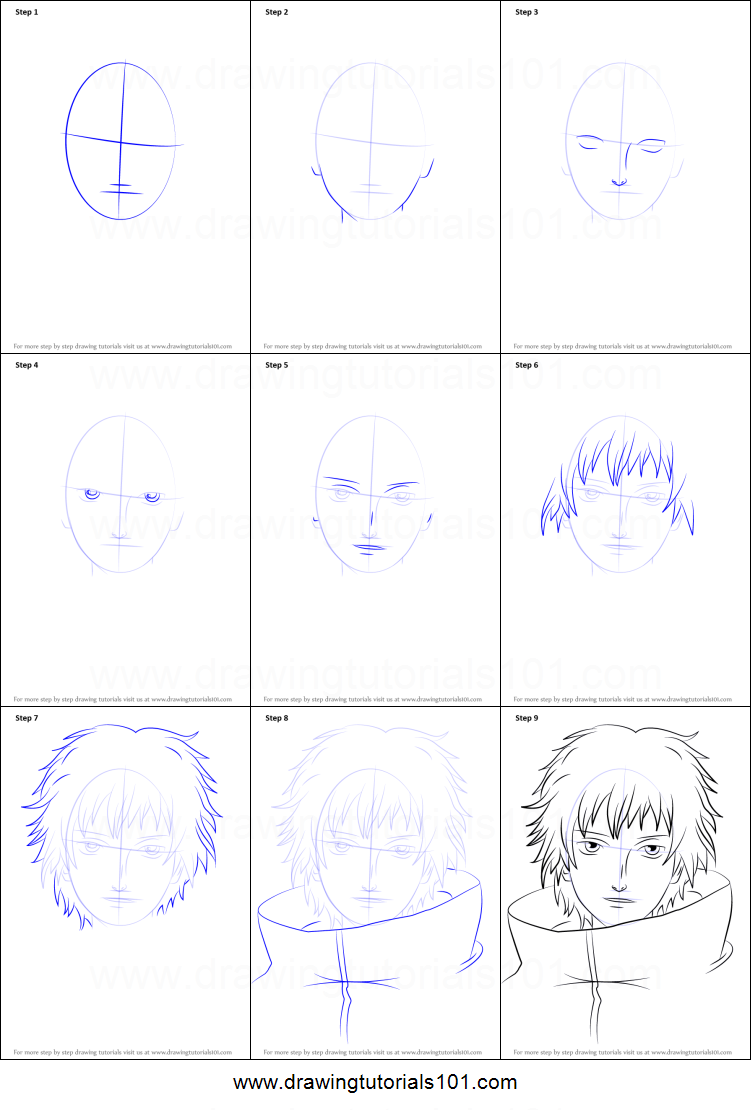 How To Draw Sasori From Naruto Printable Step By Step