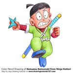 How to Draw Kemuzou Kemumaki from Ninja Hattori