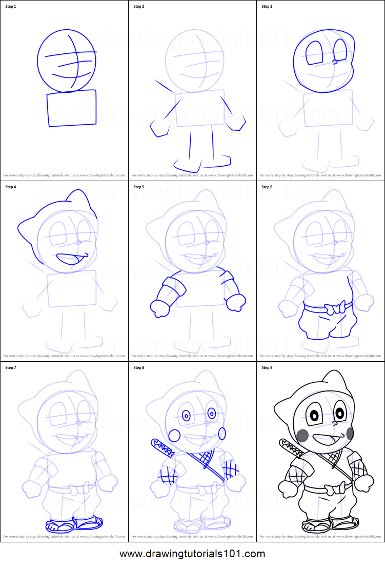 Uncategorized How To Draw A Ninja Step By Step how to draw shinzo hattori from ninja printable step by drawing sheet drawingtutorials101 com