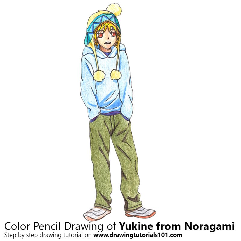 Yukine from Noragami Color Pencil Drawing