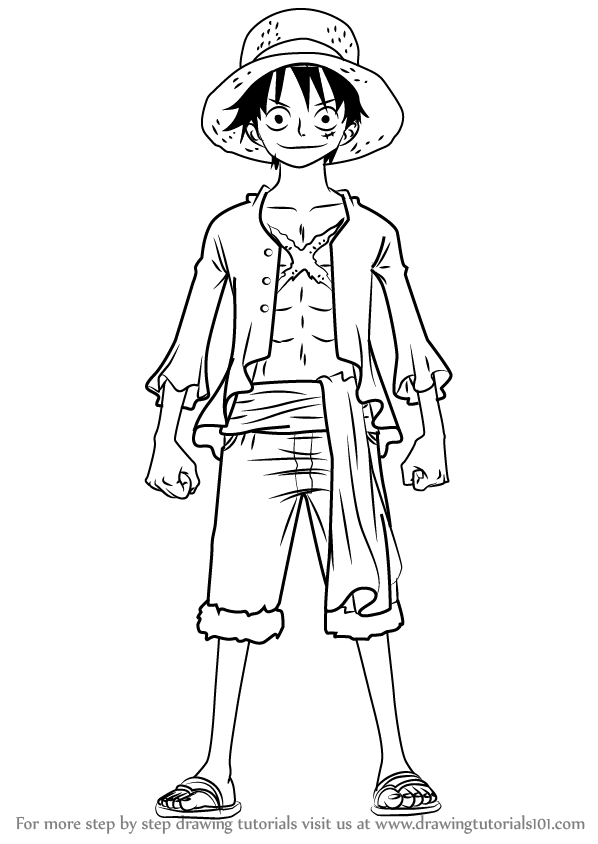 How to draw monkey d luffy full body from one piece