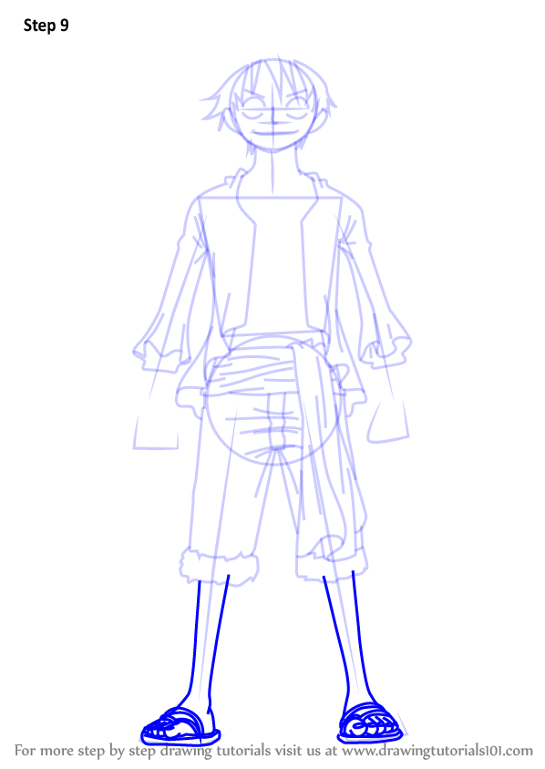 Step By Step How To Draw Monkey D Luffy Full Body From One