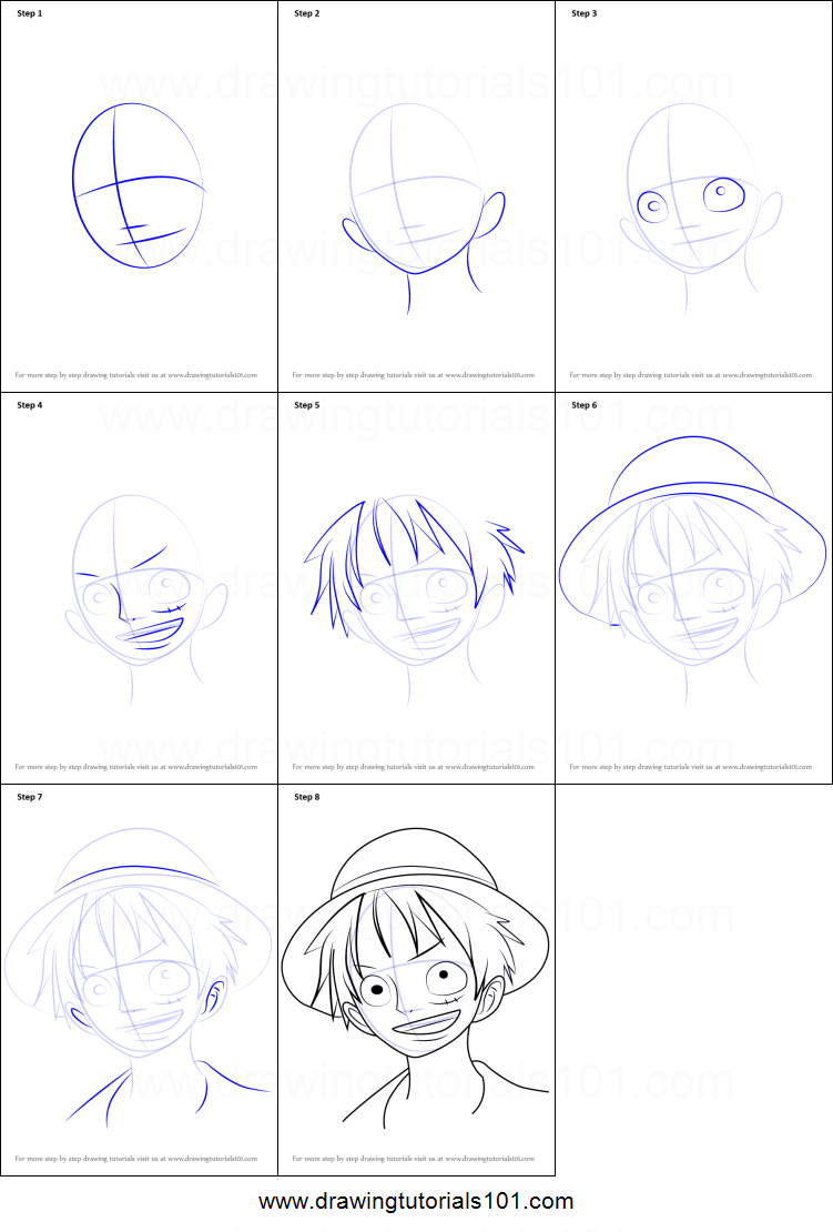 How To Draw Monkey D Luffy From One Piece Printable Step By