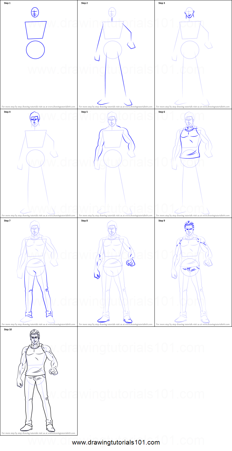 How To Draw Tanktop Tiger From One Punch Man Printable Step By Step