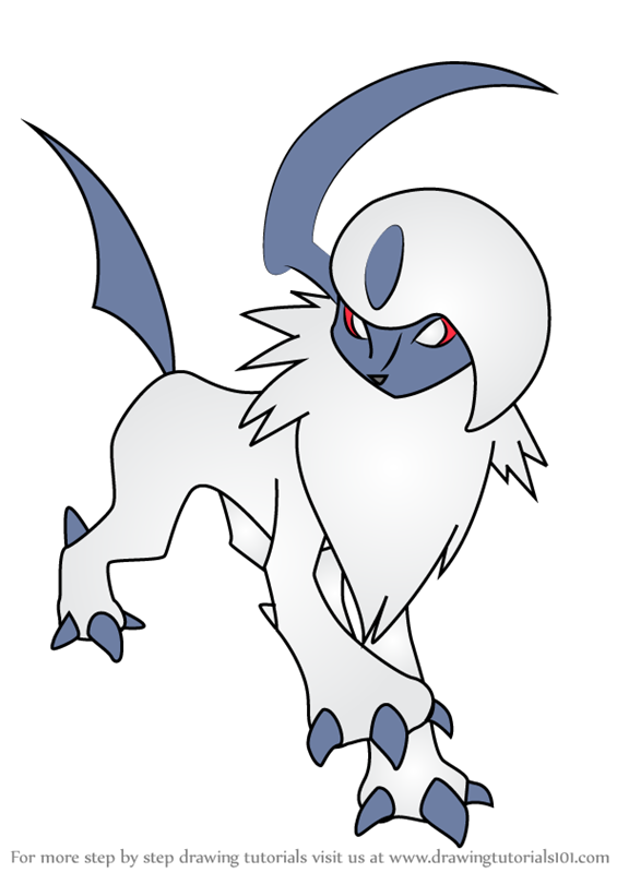 Learn How To Draw Absol From Pokemon Pokemon Step By