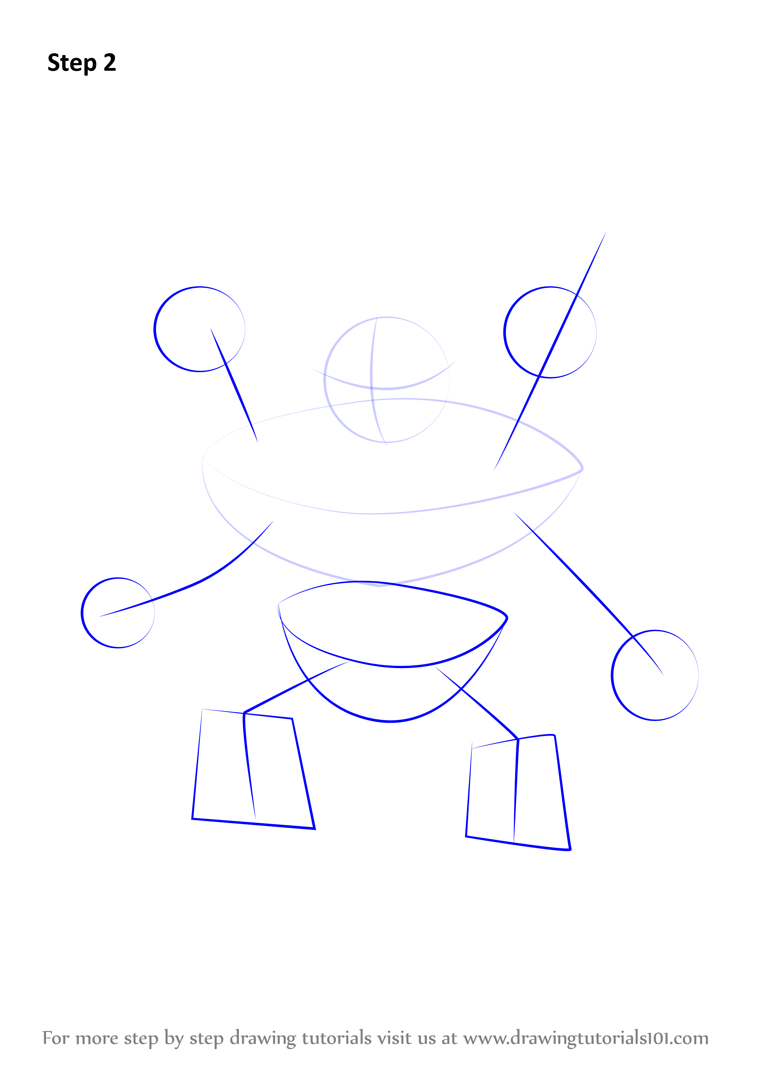 Draw Outline For Arms, Hands, Legs & Feet & Hip Also Draw Four Circles