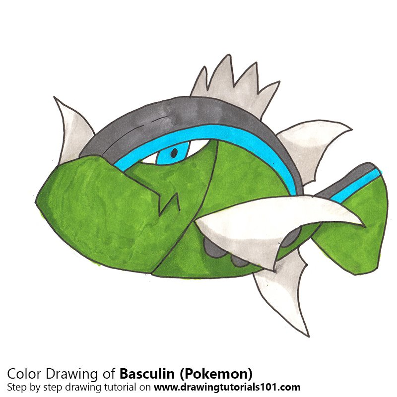 Basculin from Pokemon Color Pencil Drawing