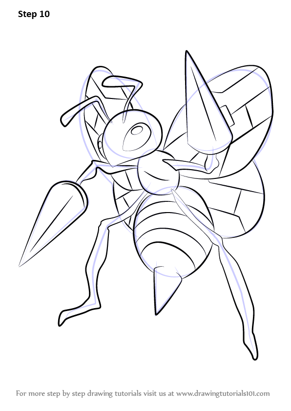Learn How To Draw Beedrill From Pokemon Pokemon Step By