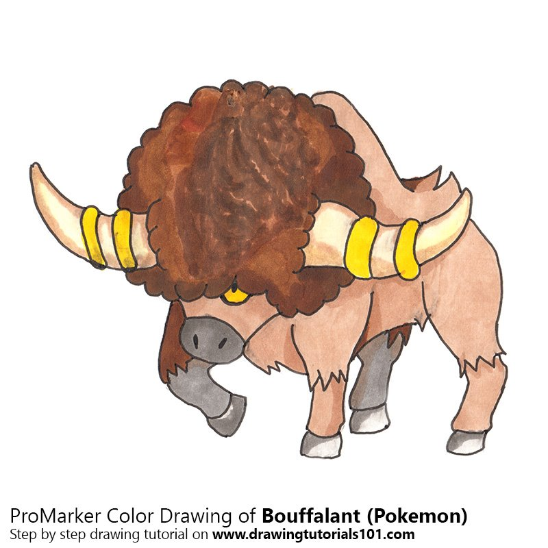 Bouffalant From Pokemon Colored Pencils Drawing Bouffalant From