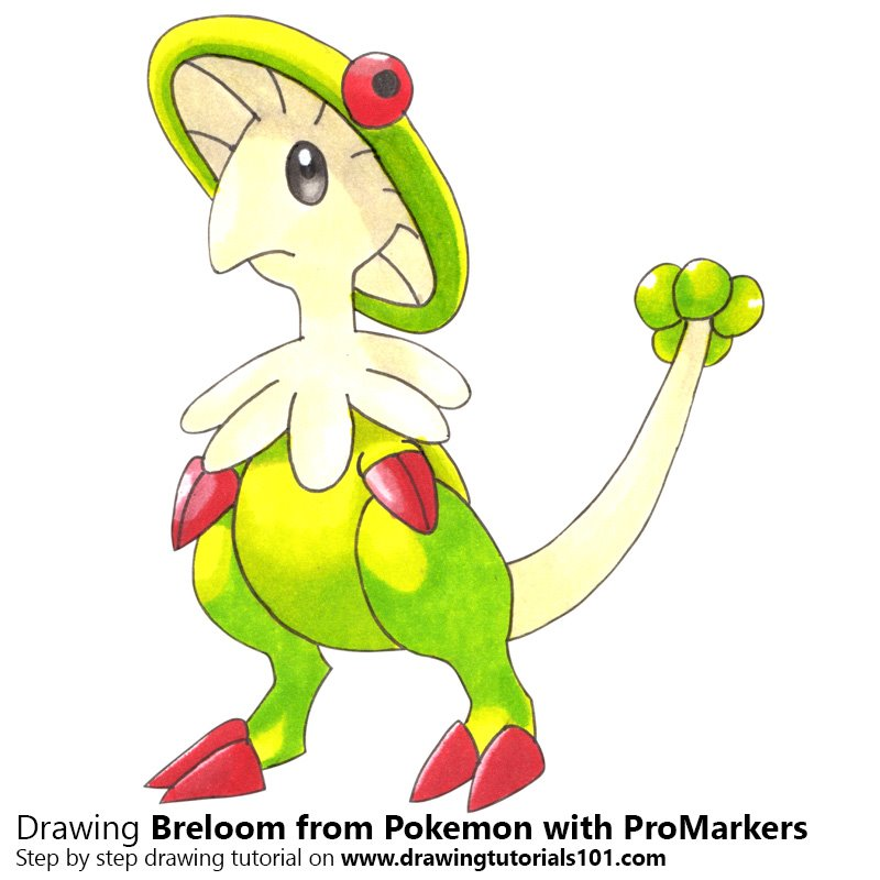 Breloom from Pokemon Color Pencil Drawing