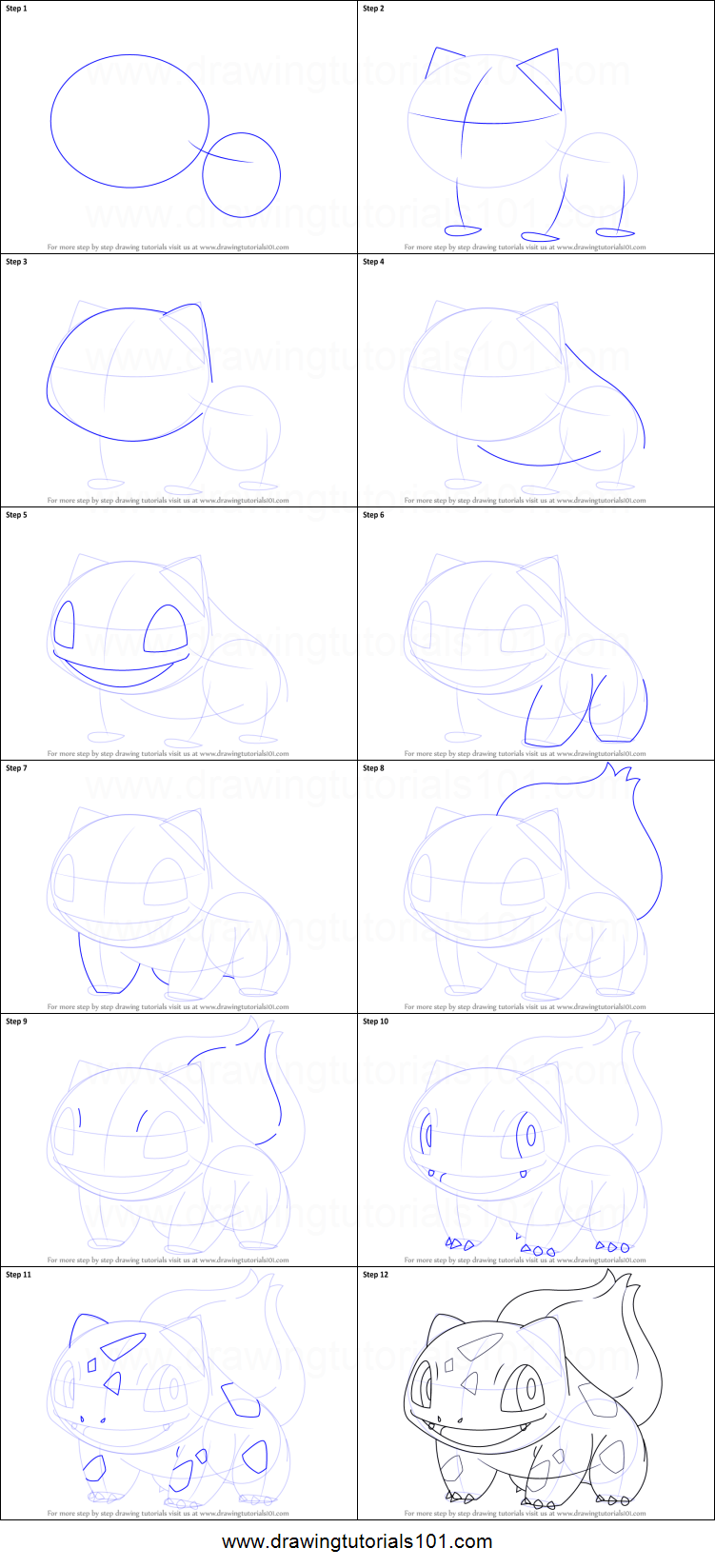 How To Draw Bulbasaur From Pokemon Printable Step By Step