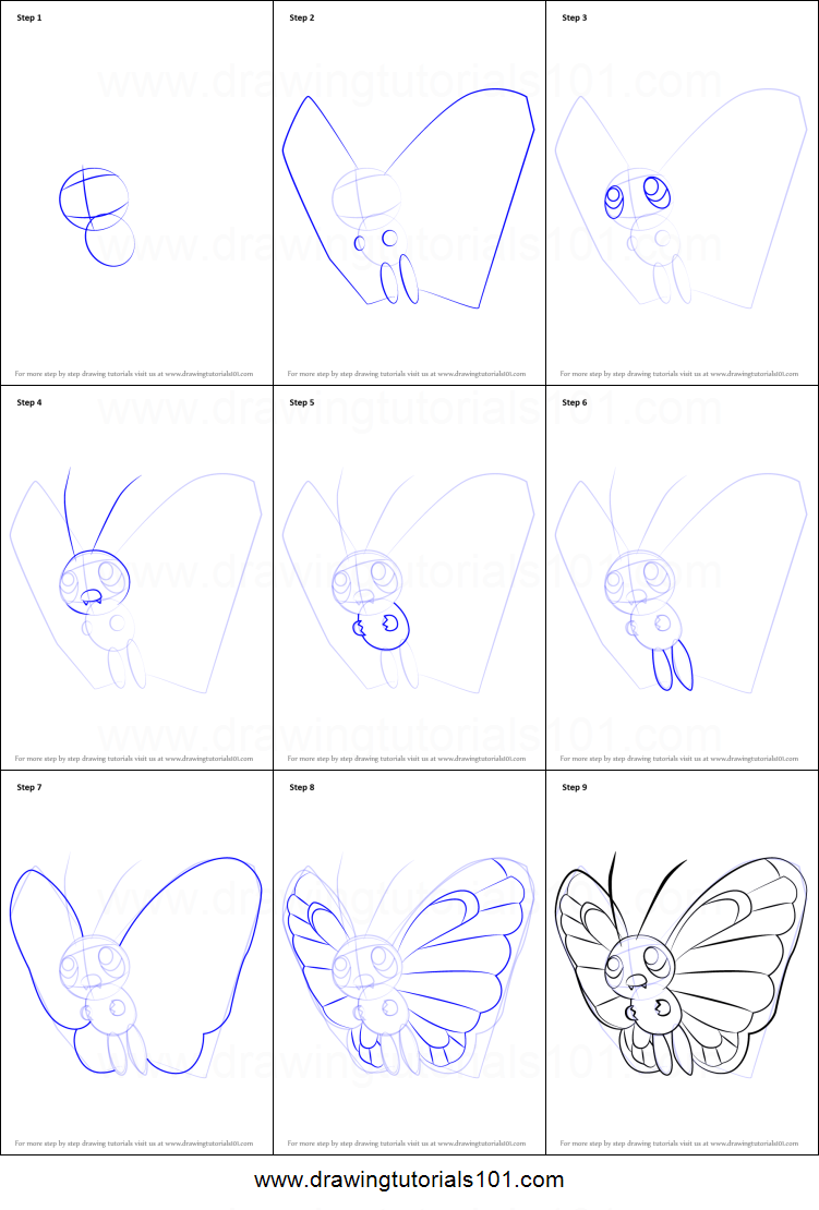 How To Draw Butterfree From Pokemon Printable Step By Step
