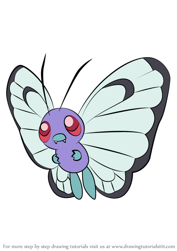 Learn How To Draw Butterfree From Pokemon Pokemon Step By Step Drawing Tutorials