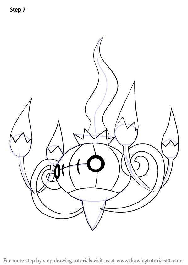 Learn How To Draw Chandelure From Pokemon Pokemon Step