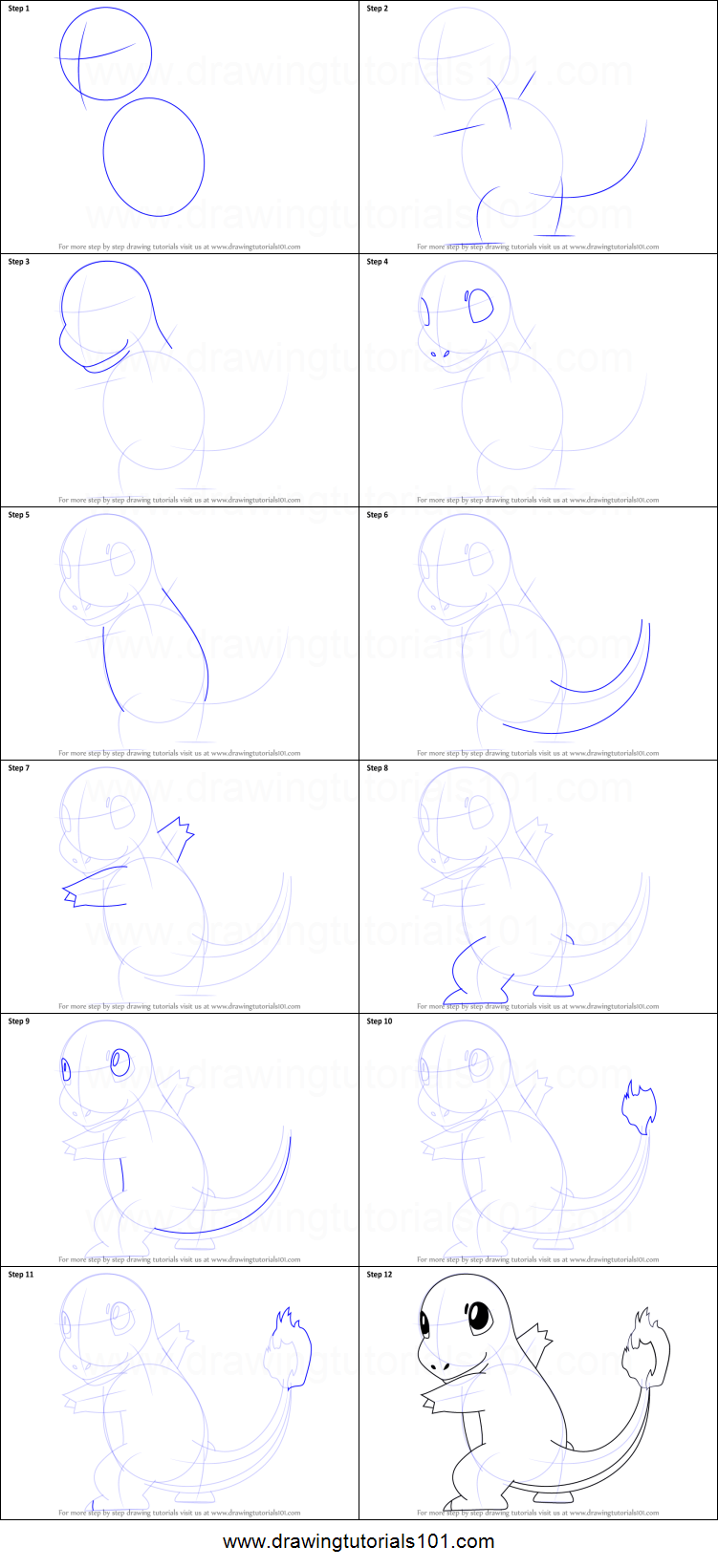 How to Draw Charmander from Pokemon printable step by step drawing sheet : DrawingTutorials101.com