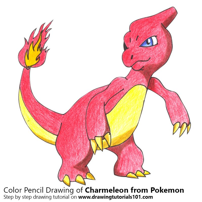 Charmeleon from Pokemon Colored Pencils - Drawing ...