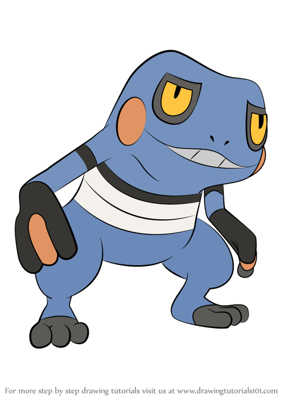 Learn How To Draw Croagunk From Pokemon Pokemon Step By