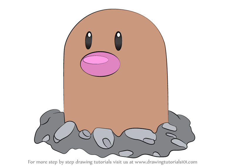 Learn How To Draw Diglett From Pokemon Pokemon Step By