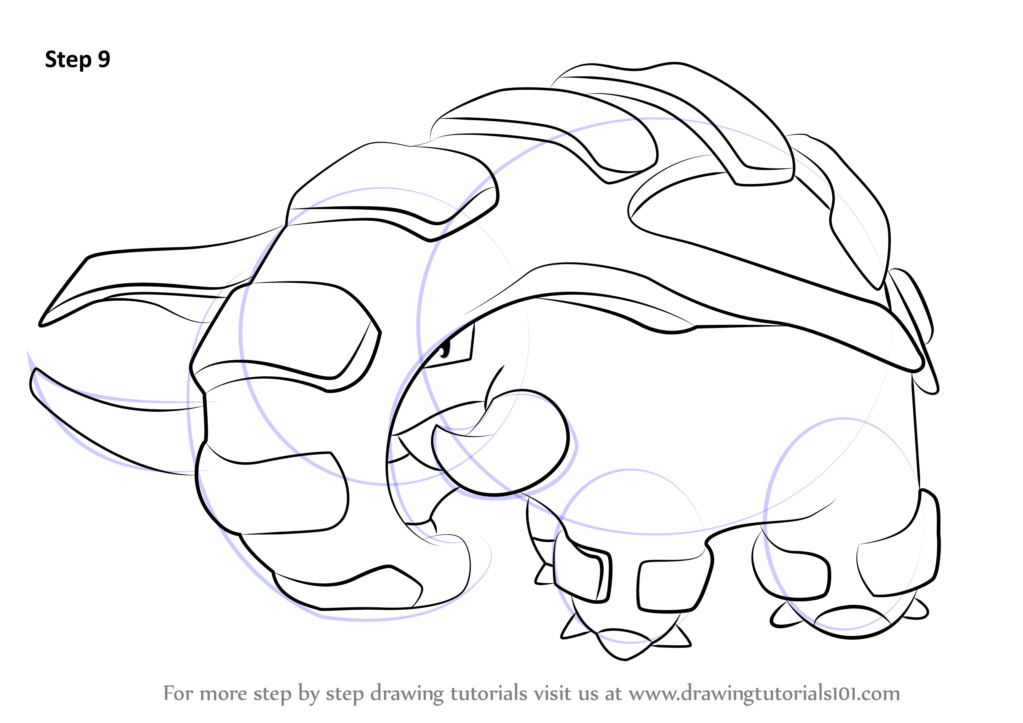 Learn How To Draw Donphan From Pokemon (Pokemon) Step By