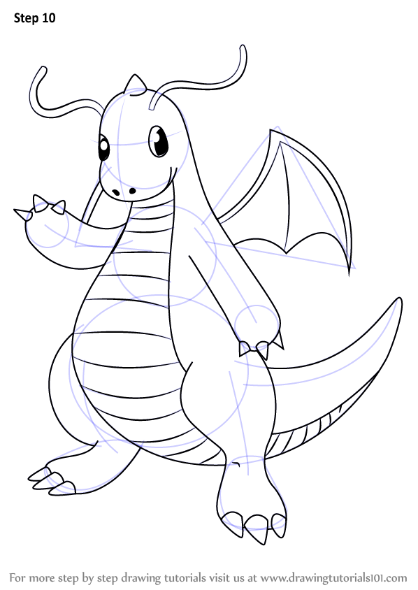 Learn How to Draw Dragonite from Pokemon Pokemon Step by Step Drawing Tutorials