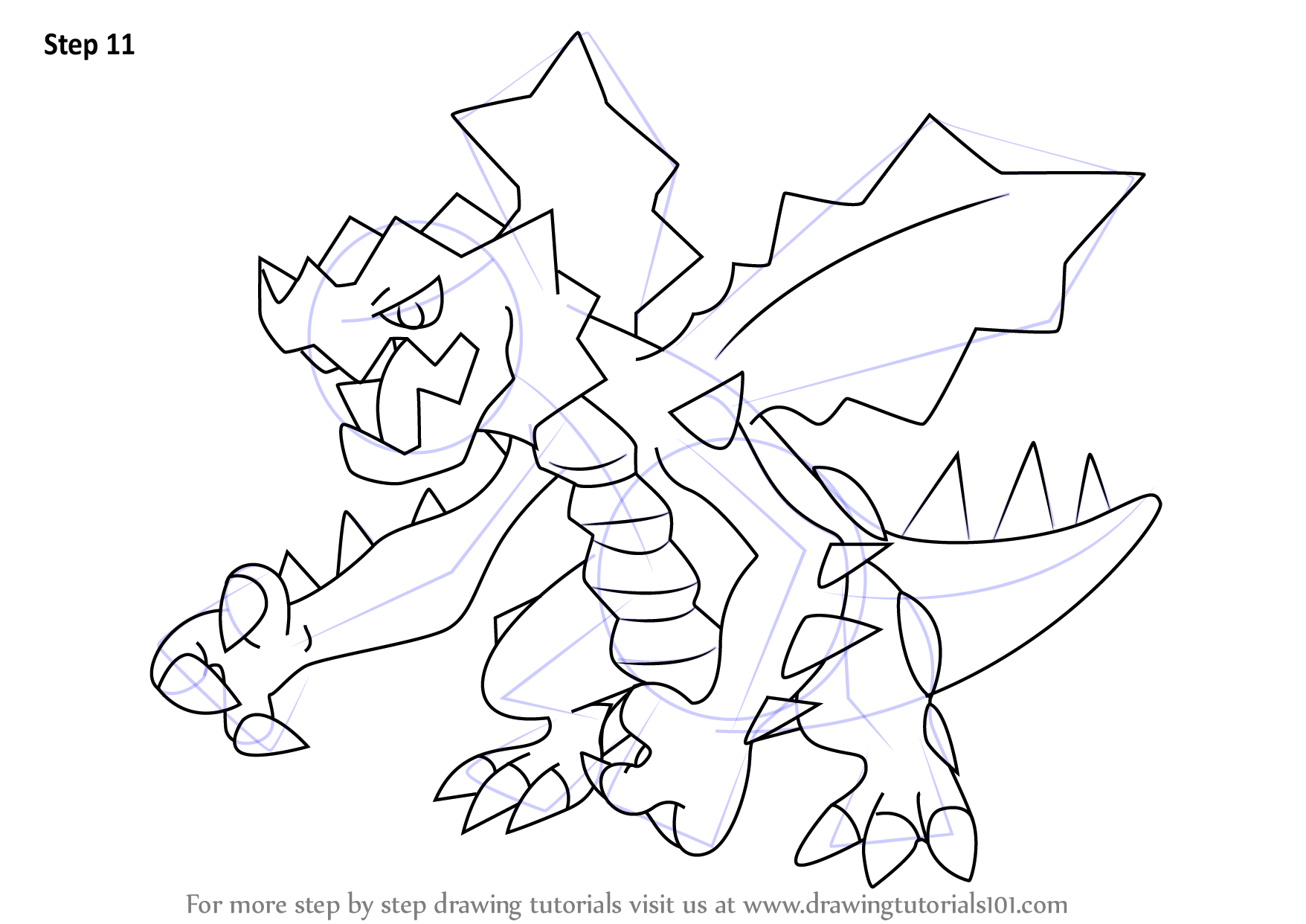 Learn how to draw druddigon from pokemon pokemon step by for Free online drawing lessons step by step