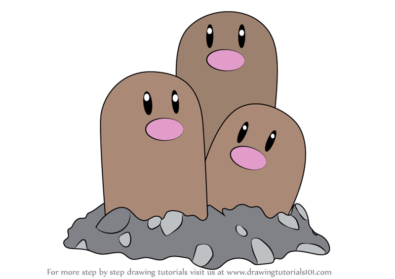 Learn how to draw dugtrio from pokemon pokemon step by step drawing tutorials